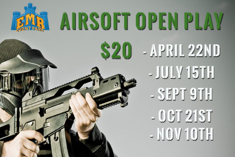 Airsoft Open Play Sept. 9th, Oct. 21st and Nov.10th